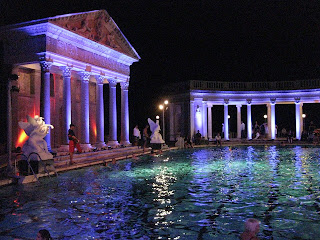 Nighttime swimmers in the Neptune Pool at Hearst Castle