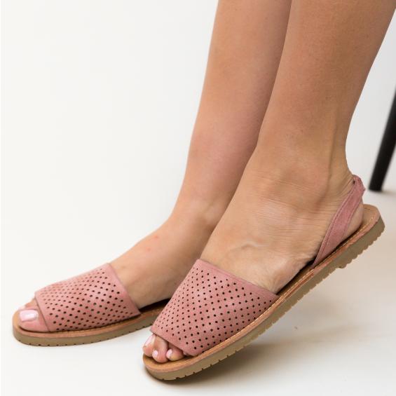 Sandale roz de femei cu talpa joasa ieftine din piele eco intoarsa