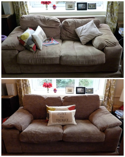Before and after sofa covers