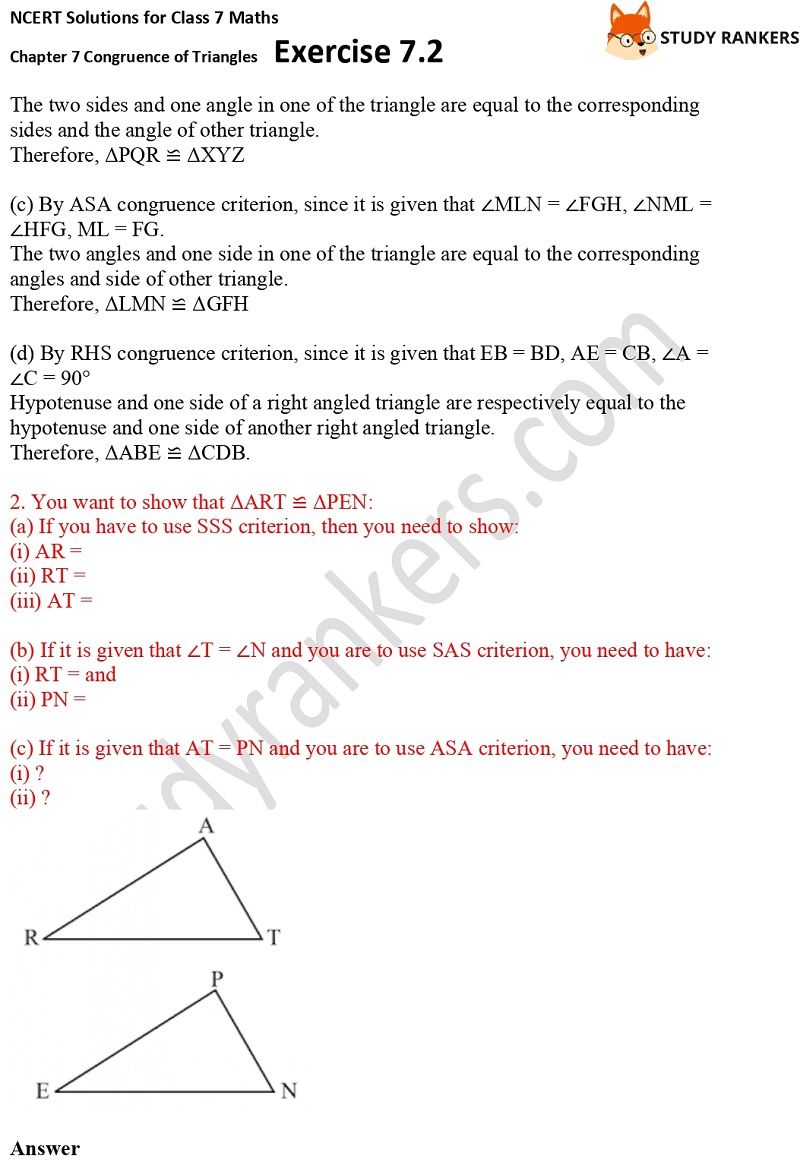 NCERT Solutions for Class 7 Maths Ch 7 Congruence of Triangles Exercise 7.2 2