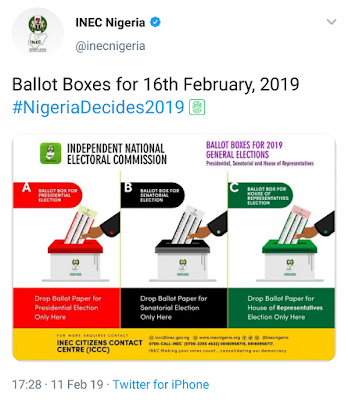 The Independent National Electoral Commission (INEC) on Monday released photos of sample ballot boxes for the 2019 general elections.