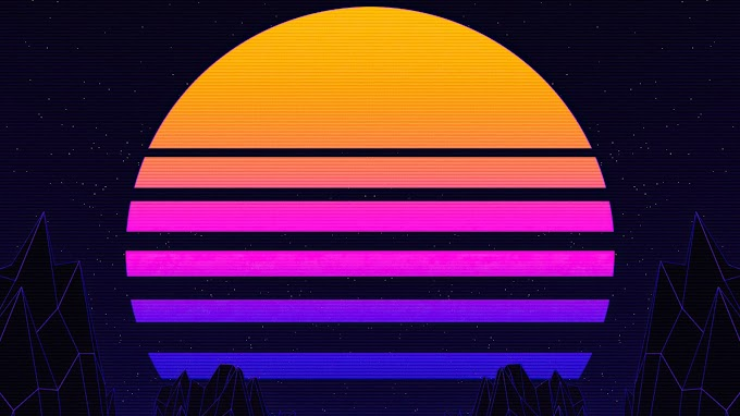 Retrowave Synthwave Pôr do Sol