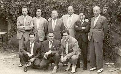 Josep Miquel Ridameya i Tatché con amigos en La Pobla de Lillet