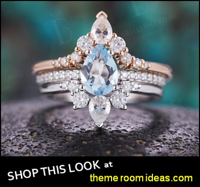 Aquamarine engagement ring 14k white & rose gold pear shaped vintage Moissanite  Wedding women Anniversary gift