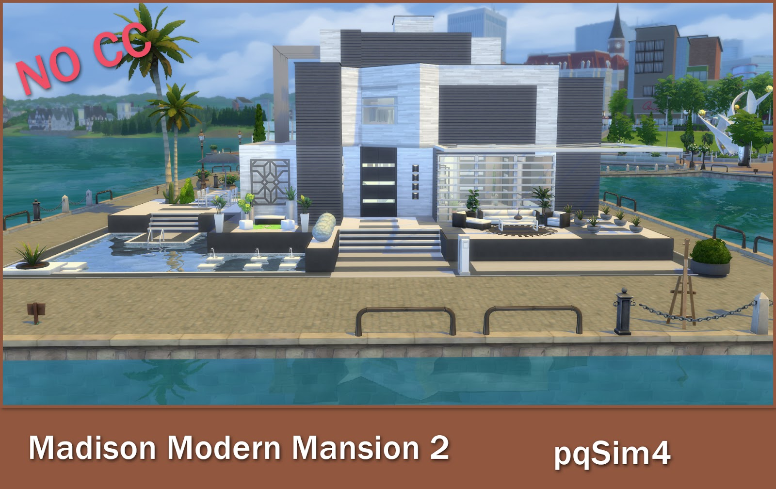 Madison modern mansion sims 4 speed build video and download for Sims 2 mansiones y jardines