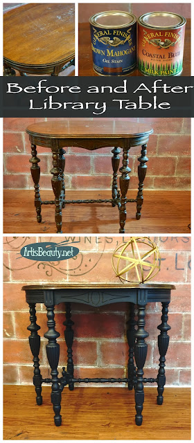 before and after 6 leg library table makeover general finishes coastal blue and mahogany gel finish