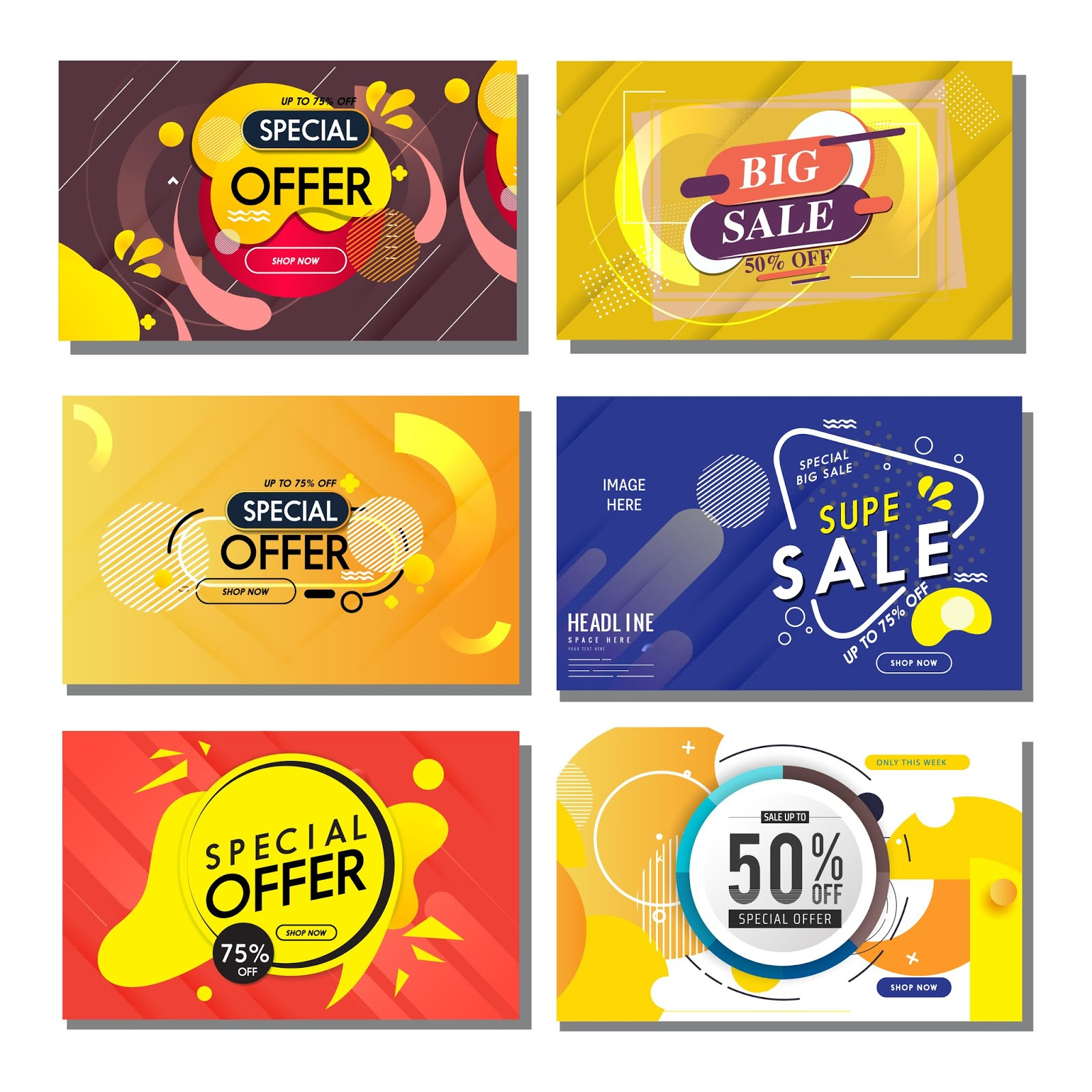 Sale Banners Templates Modern Flat Abstract Geometric