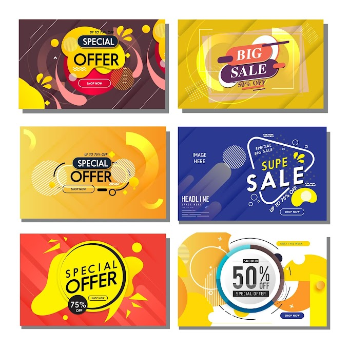 Sale banners templates modern flat abstract geometric decor Free vector