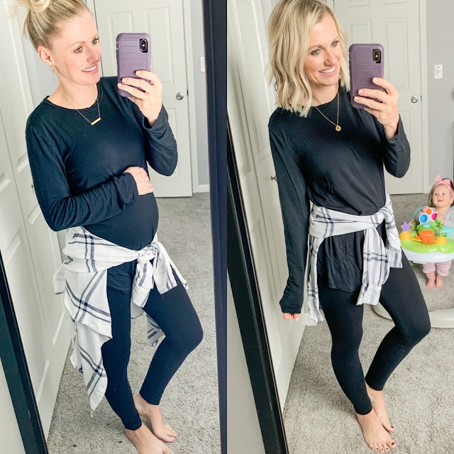 Comfy maternity leggings outfit