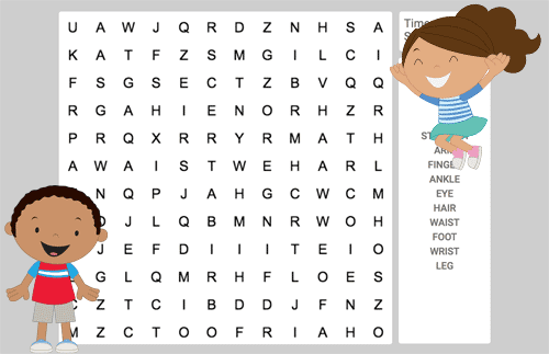 Word search of the body parts