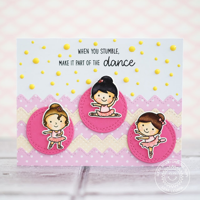Sunny Studio Stamps: Ric Rac Border Dies Pretty Ballerina Card by Lexa Levana