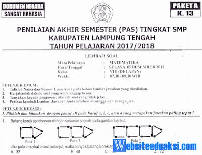 Naskah Soal PAS/ UAS Matematika Kelas 8 K13 Tahun 2018/2019