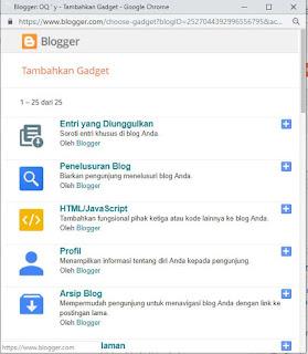 Cara memasang sebuah widget pada blog pilih HTML/JavaScript