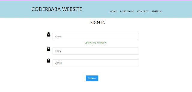 SignIn page check username availability