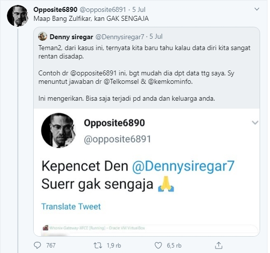 Data Denny Siregar dibongkar opposite