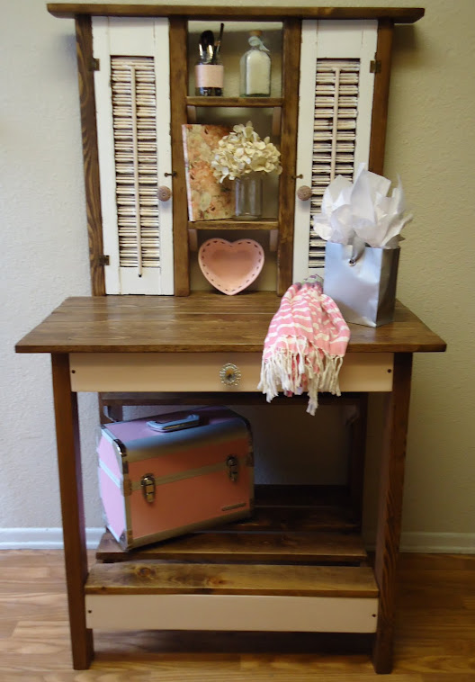 Accent Table with Vintage Shutters - SOLD
