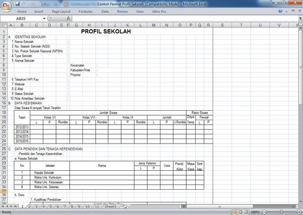 Contoh Profil Sekolah Format Microsoft Excel