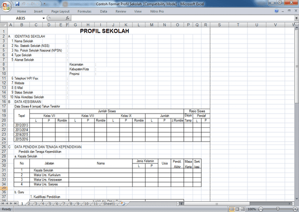 File Pendidikan Contoh Profil Sekolah Format Excel