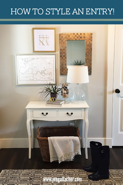 How to Style an Entry from www.jengallacher.com. #entrydecor #entrystyling