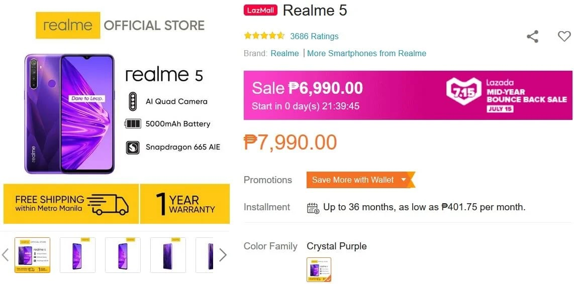 Deal Alert: Realme 5 w/ Quad Cam and 5,000mAh Battery On Sale this July 15 for Only Php6,990