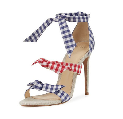Alexandre Birman Lolita Gingham Three Strap Stiletto Sandals