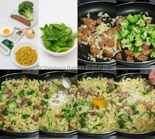 西班牙腸西蘭花芝士通粉製作圖 Broccoli, Chorizo and Cheese Macaroni Procedures