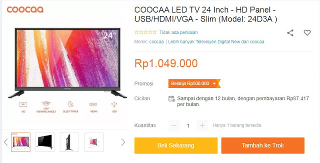 COOCAA LED TV 24 Inch - HD Panel - USB/HDMI/VGA - Slim (Model: 24D3A )