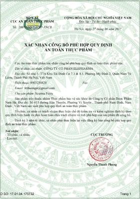 giấy chứng nhận an toàn thực phẩm sủi dạ dày curumin scurma Fizzy