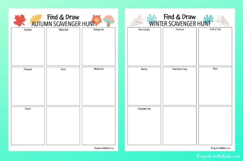 find and draw scavenger hunt for kids