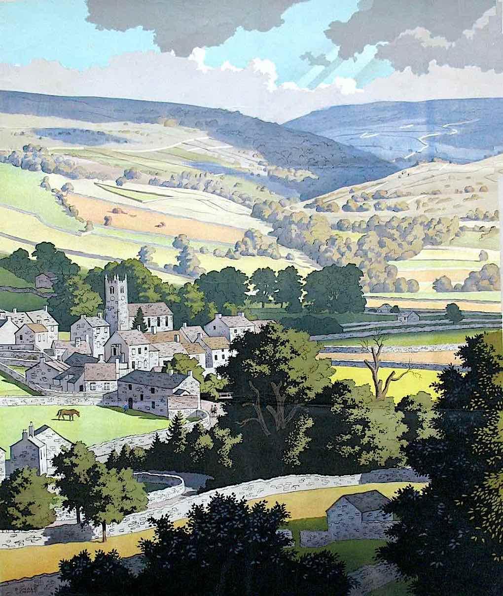 a Ronald Lampitt English country landscape illustration