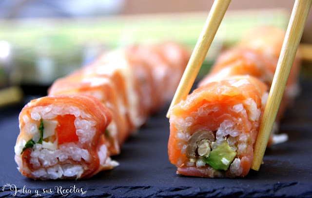 Makis de salmón ahumado y makis de jamón serrano. Julia y sus recetas