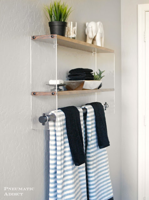 Clear acrylic and wood bathroom shelf building plans