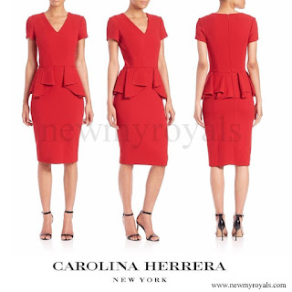 Queen Letizia wore Carolina Herrera Peplum Stretch-Wool Dress