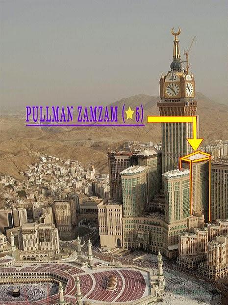 Posisi Zamzam Tower di kompleks Abraj Al Bait, tempat Hotel Grand Zamzam