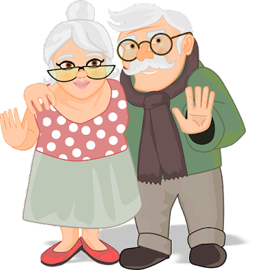 2 elderly people smiling and waiving