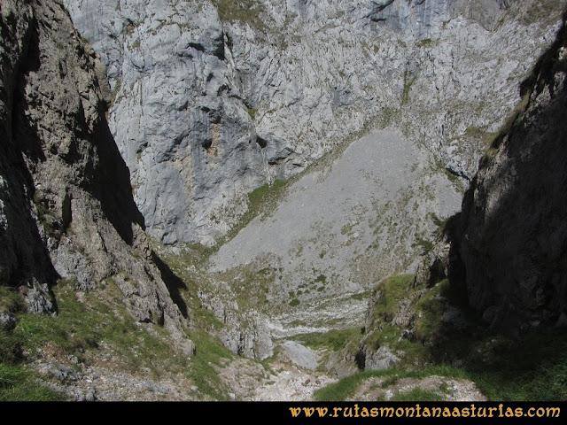 Ruta Cabrones, Torrecerredo, Dobresengos, Caín: Bajando Dobresengos, El Canalón