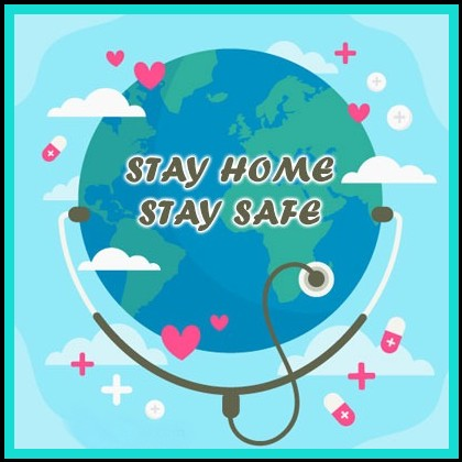 earth with stethoscope Stay at home quotes