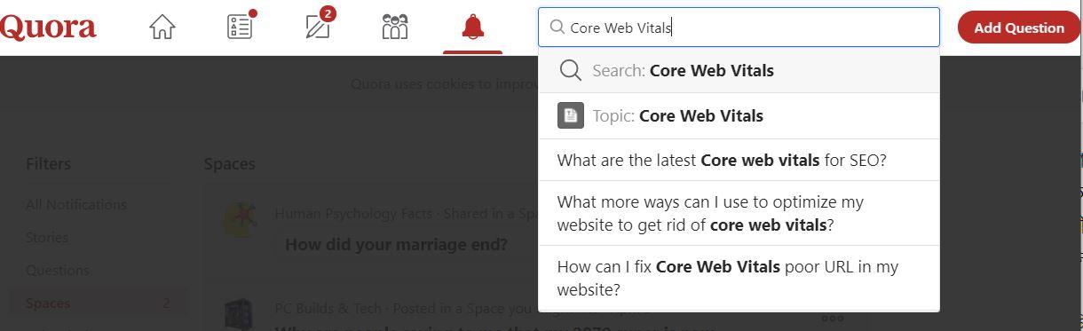 """the latest SEO topic """"Core Web Vitals"""""""