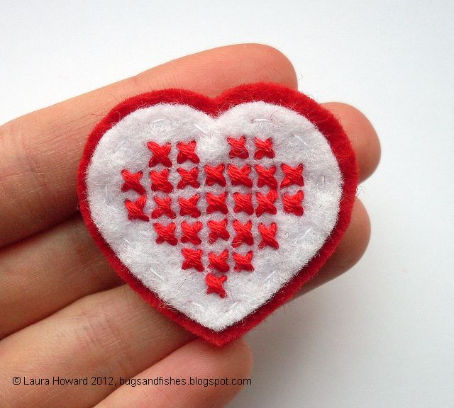 http://bugsandfishes.blogspot.com/2012/02/how-to-cross-stitch-heart-brooch.html