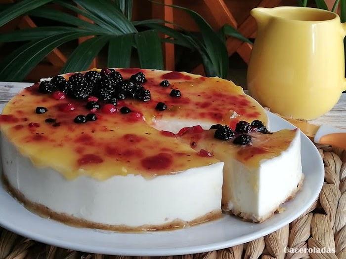 Tarta de queso con mermelada - Receta fácil y rápida sin horno