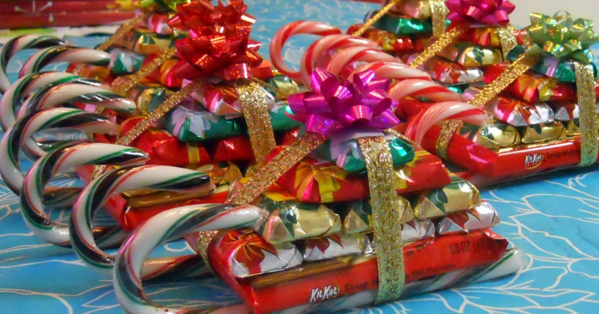 Sleigh Made From Candy Canes And Candy Bars