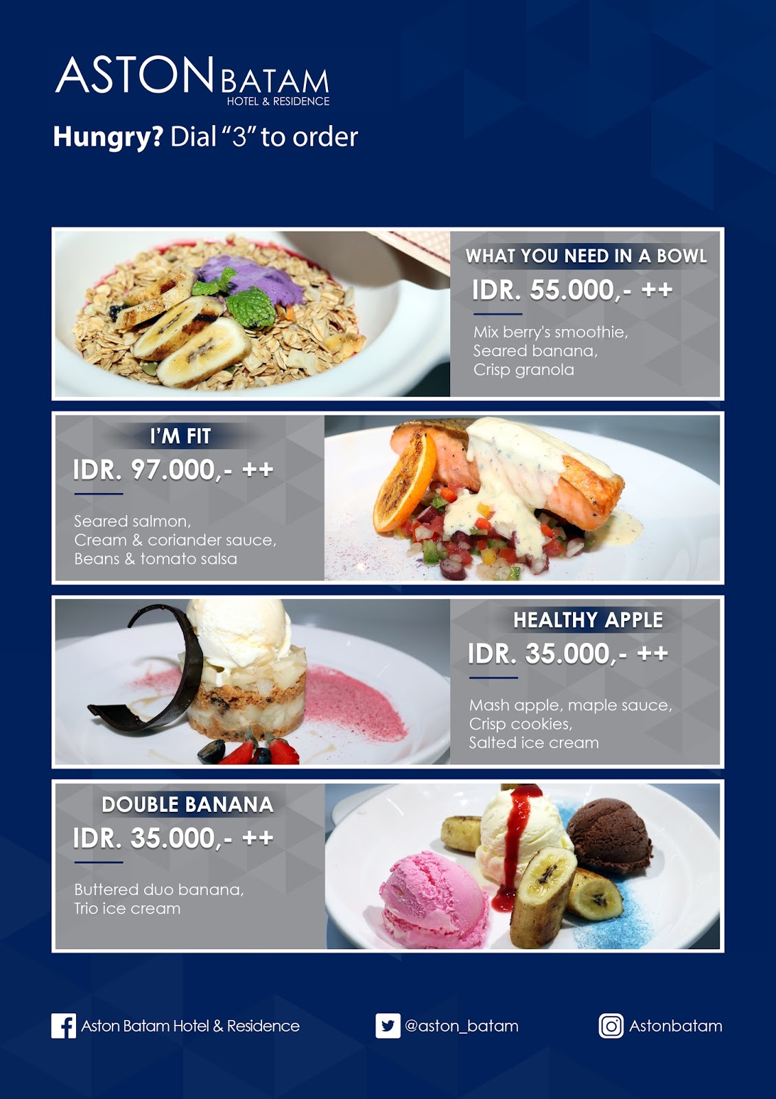 Bed Menu Aston Batam Hotel