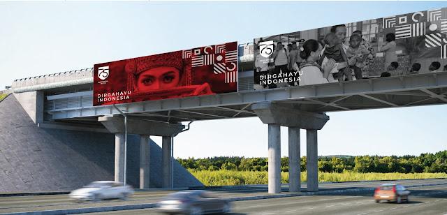 desain billboard logo hut ri 75