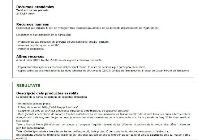 Recursos econòmics Total euros per període 2443,87 euros  Recursos humans El personal que impulsa la XSFCT l'integren tres tècniques municipals de de diferents departaments de l'Ajuntament.  Les persones que participen en la xarxa són:  - Professionals que treballen en diferents serveis sanitaris i socials i entitats. - Alumnes de pràctiques de la URV. - Persones cuidadores.  Altres recursos A banda dels RRHH, també s'utilitzen els següents recursos materials:  - Espais municipals per a les reunions del personal tècnic i la resta de persones que participen en la xarxa. - Espais cedits per a la realització de les dues jornades de difusió de la XSFCT: Col·legi de farmacèutics, i l'espai de Caixa- Fòrum de Tarragona.       Resultats Descripció dels productes assolits La creació de la xarxa ha generat els següents productes:  - Un manual de bona praxis. - El blog de la xarxa: http://xsfct.blogspot.com.es/ - L'experiència pilot del GAM per a persones cuidadores amb malalties de qualsevol afectació. - Dues jornades de la Xarxa de suport a famílies cuidadores en les que s'avaluen les tasques realitzades durant l'any i es duen a terme tallers adreçats als cuidadors, amb l'objectiu de proporcionar les eines necessàries per a la seva autocura. En la jornada de l'any 2016 s'han realitzat tres tallers: Taller d'Atenció Plena (Mindfulness) per ajudar a recuperar l'equilibri davant de les diferents situacions de la nostra vida diària i viure en plenitud cada moment. Taller d'Artteràpia, ajuda a treballar els temes de l'expressió, de la protecció dels seus límits, d'autoconeixement i d'autocura. Entrenament emocional (emotional training) per entrenar les competències emocionals per generar vincles saludables amb tu mateix i amb els altres.