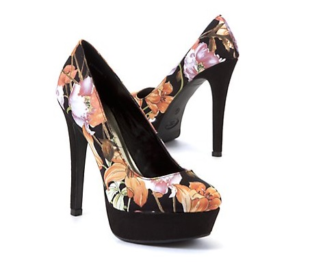 Black Floral heels from New Look