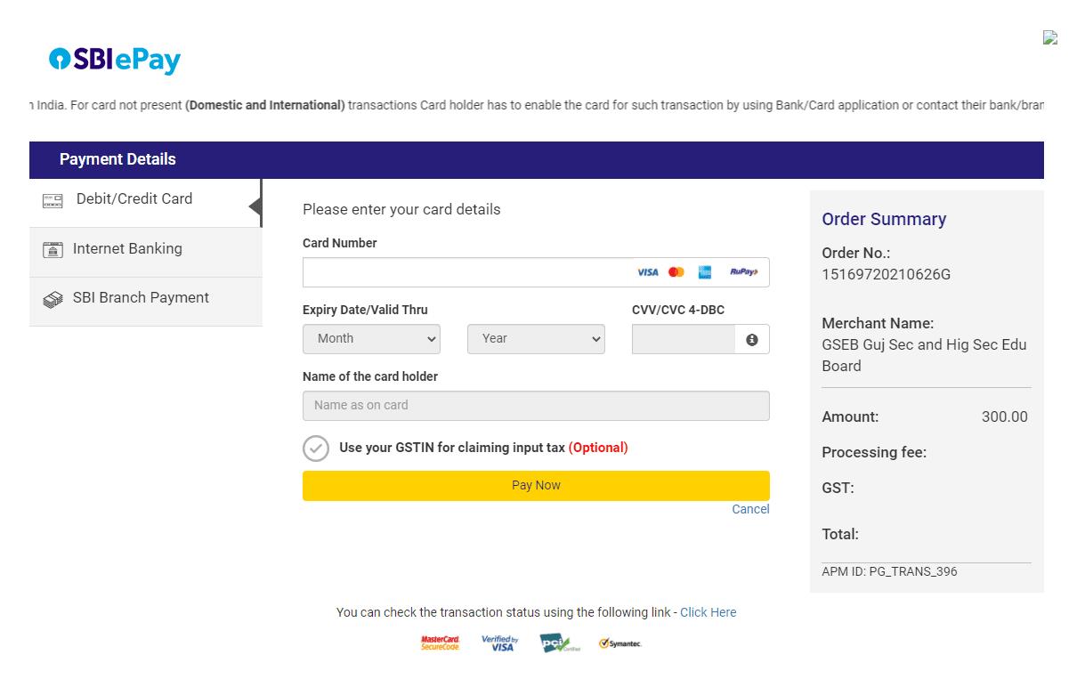 GUJCET 2021 Registration Payment