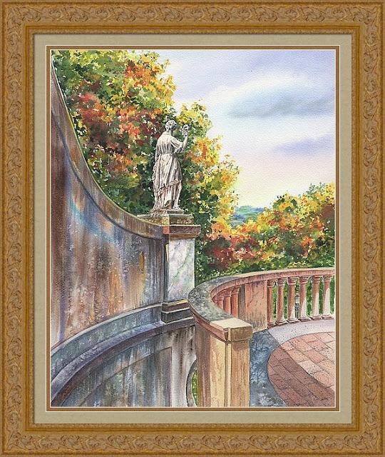 Statue Boboli Gardens Florence Italy Watercolor by Irina Sztukowski