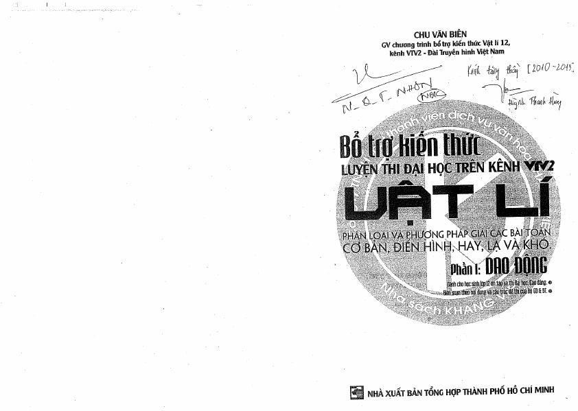 Bổ Trợ Kiến Thức Luyện Thi Đại Học Trên Kênh VTV2 Vật Lí Phần I_ Dao Động – Chu Văn Biên