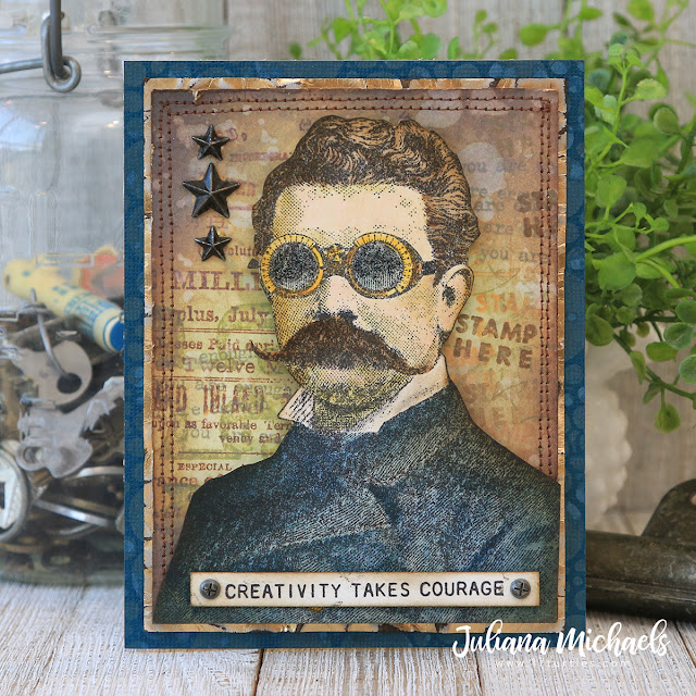 Creativity Takes Courage Card by Juliana Michaels featuring Tim Holtz Stamper's Anonymous Cling Mounted Rubber Stamp Set The Professor 2