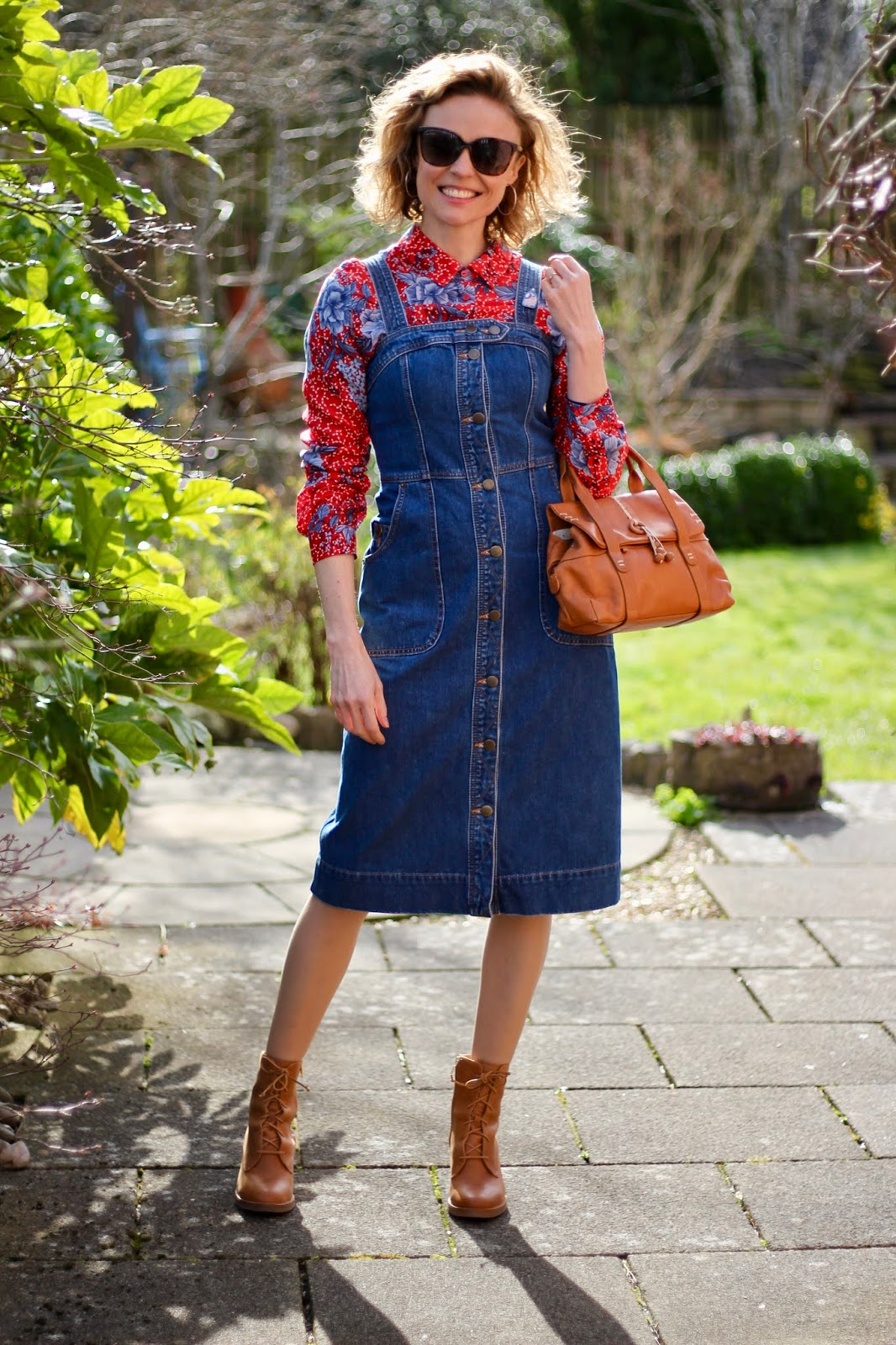 Denim dress, red shirt and tan boots   Spring Outfit Idea   Fake Fabulous